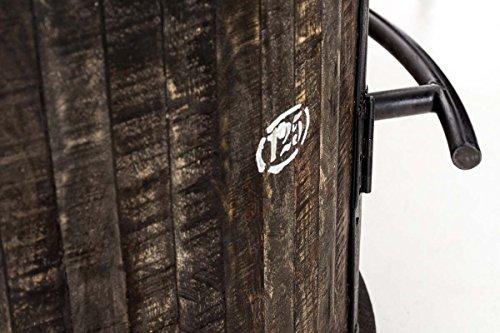 CLP Weinschrank Chicago aus Holz I Barwagen mit DREI Ablagen und Laufrollen I Mobile Weinbar I In Verschiedenen Farben erhältlich Antik Braun - 5