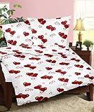 Genieße den Schlaf 4260216519147 Bettwäsche Set 155 x 220 cm, Seersucker aus 100% Baumwolle, weiß mit roten Herzchen