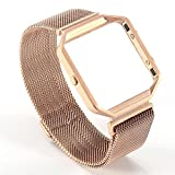 Fitbit BLAZE grande, Valkit Fitbit BLAZE braccialetto elastico di ricambio morbido silicone sport strap con sgancio rapido pins (telaio non incluso) per Fitbit BLAZE Smart Watch (Frame+Loop) - Rose Gold - (M-L)