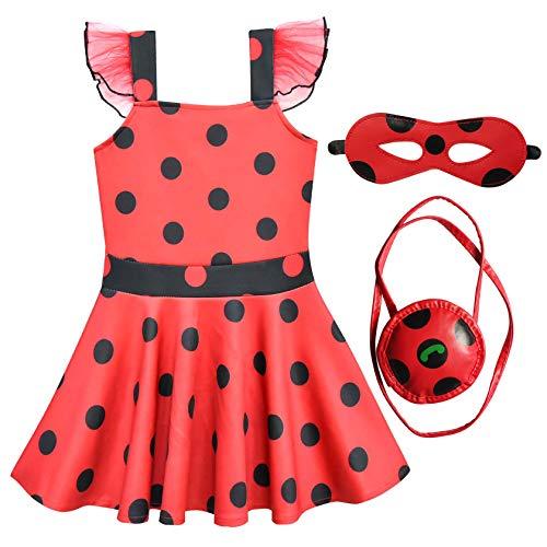 FStory&Winyee Mädchen Marienkäfer Kostüm Set für Karneval Kinder Miraculous Ladybug Kleid Cosplay Verkleidung Party Outfit 140 mit Zubehör Augenmaske Tasche Süß Fasching Kinder Geburtstagsgeschenk