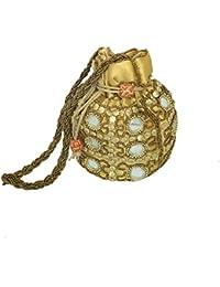 MP Crafts Ethnic Mirror Work Rajasthani Potli Bag / Clutch / Bridal Clutch ( Golden )