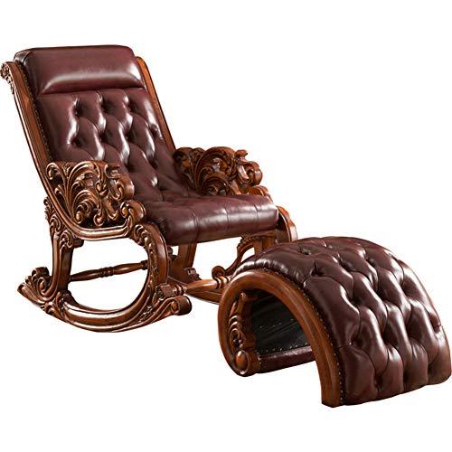 XUE Schaukelstuhl, neigbar, Leder, modern, komfortabel, Rocker mit beheizter Massage, ergonomisch, Lounge-Grad, drehbar, für Sofa, einfach, Sitz, Wohnzimmer, Stuhl (Hoch Rocker Glider)