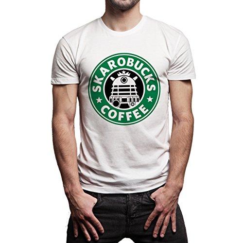 Starbucks R2D2 Skarobucks Coffee Background Herren T-Shirt Weiß