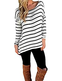 CHIC-CHIC T-shirt Blouse Longues Manches Rayures Basique Simple Tee Pull Souple Blanc