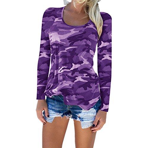 Juleya T-shirts Magliette a maniche lunghe Camouflage T-shirt Top Viola