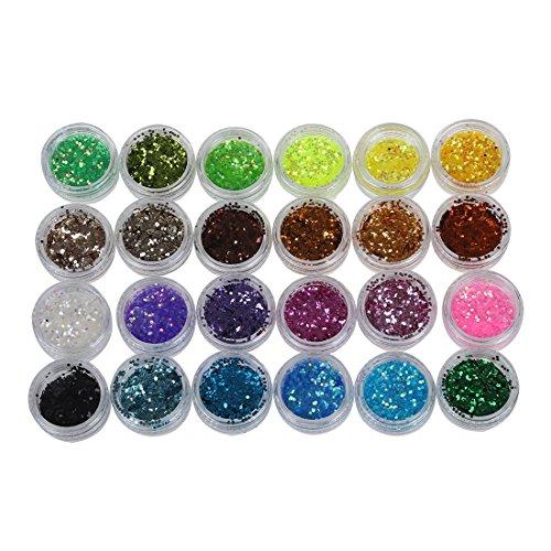 Lot 24 couleur paillette chips glitter deco ongles manucure gel acrylique