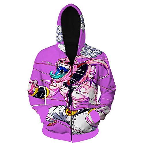 Wycdbk Hoodies Sweatshirts 3D HD Print Pullover Tops Mit Taschen Reißverschluss Unisex Dragon Ball Super Majin Buu - Majin Shirt Buu