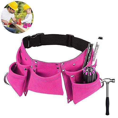 AOLVO Kinder-Werkzeuggürtel, Leder, Arbeits-Werkzeuggürtel, verstellbar, Kinder-Zimmermanns-Werkzeugtasche, Schürze für Jugend-Kostüme, Kostüme zum Verkleiden und Bauen Rose (Jugend Kostüm)