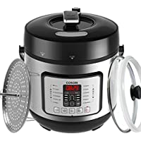 COSORI 7-in-1 Electric Pressure Cooker, 6 Litre/1000W, Digital Programmable Multifunctional Rice Cooker, Slow Cooker, Food Steamer and Yogurt Maker with Glass Lid, Extra Sealing Ring and Recipe Book