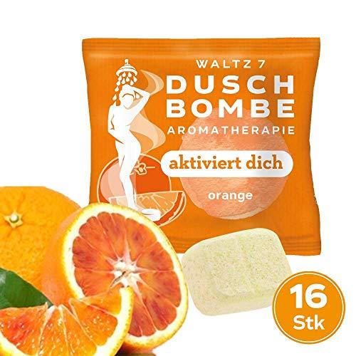 WALTZ7 aromatische Duschbombe Duft Orange 16 Stück Duschbad Aromatherapie Wellness Geschenk für Damen und Herren Duschtab Ätherische Öle -