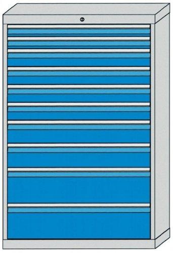 Schubladenschrank mit 10 Schubladen, inkl. Einteilungssortiment Schubladenschränke Breite 1000