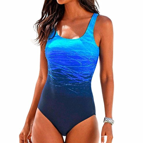 VJGOAL Damen Badeanzug, Damen Mädchen Sommer Schwimmen Kostüm Padded Badeanzug Monokini Push Up Bikini Sets Bademode (M / 34, Blau)