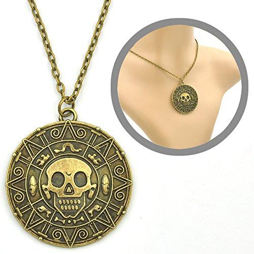 Fluch der Karibik Halskette mit Azteken Münze Anhänger (Piraten Schmuck Kostüm)