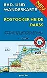 Rad- und Wanderkarte Rostocker Heide, Darß: Markgrafenheide, Graal-Müritz, Dierhagen, Wustrow, Ahrenshoop, Born, Wieck, Prerow. Wasser- und reißfest.
