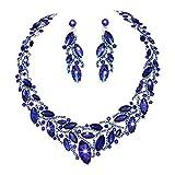 Youfir Elegantes österreichisches Kristallschmuck Set mit Halskette und Ohrringe für Hochzeitskleid, blau, für Damen