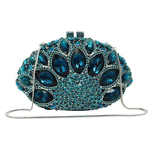 ZLL Women's bag Diamond Abendtasche Hohle Legierung Fächerförmige Kupplung Damen Luxus Kleid Kupplung,D-18 * 7 * (Diamond Womens Kostüm)