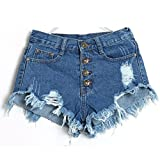 TWIFER Damen Vintage Hohe Taille Loch Kurze Jeans Hot Shorts Denim Pants