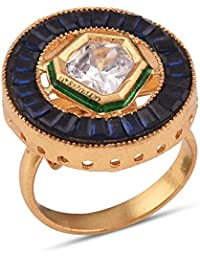 Tistabene Retails Contemporary Kundan And Blue Colored Stone Baguettes Designer Cocktail Ring | Gold Plated Cocktail...