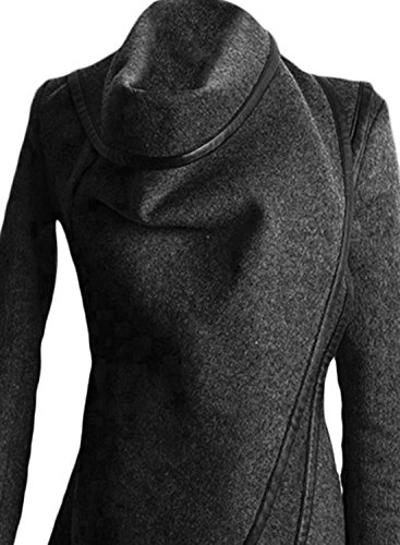 Azbro Women's Turtleneck Irregular Trench Coat with Zip Sleeve Black