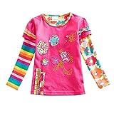 VIKITA Mädchen Baumwolle Langarm T-Shirt Top, L220 Rosa, Gr. 2-3 Jahre=92cm-98cm
