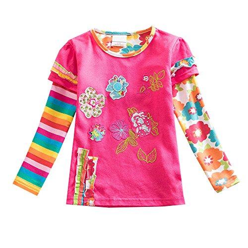 VIKITA Mädchen Baumwolle Langarm T-Shirt Top, L220 Rosa, Gr. 7-8 Jahre=122cm-128cm -