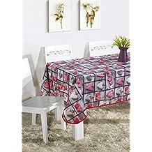Mantel Mesa Rectangular Antimanchas Impermeable, Manteles Estampados para Comedor Cocina Casa Hotel Restaurante, 140x180cm, Corazones Rojo