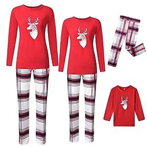 Amphia - Pijamas Navideños Familiares - Conjuntos de Pijamas Navideños de Algodón para Mujer Hombre Niño Bebé - Ropa de Dormir Otoño y Invierno Sudadera Chándal Suéter de Navidad 16