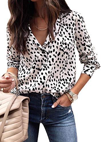 ECOWISH Damen Bluse Leopardenmuster Hemd V Ausschnitt Button Down Shirt Kragen Langarmshirt Oberteile Top 235 Weiß S