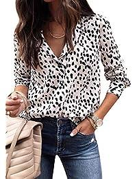ECOWISH Damen Bluse Leopardenmuster Hemd V Ausschnitt Button Down Shirt Kragen Langarmshirt Oberteile Top