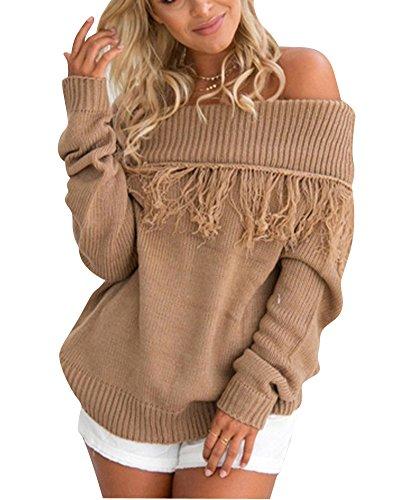 Donna Maglione Maglia Invernale Elegante Manica Lunga Sciolto Blusa Maglioni Lungo Cachi