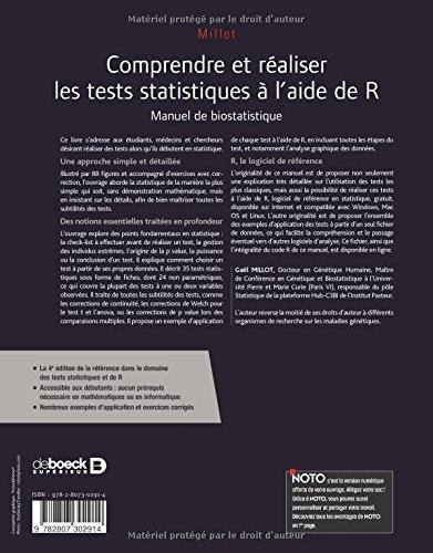 Comprendre et réaliser les tests statistiques à l'aide de R : Manuel de biostatistique
