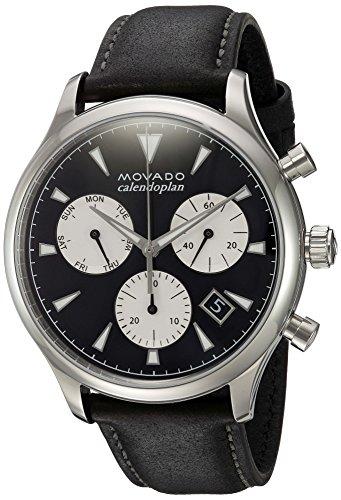 Movado Hombres de cuarzo suizo reloj Casual de cuero y acero inoxidable, color: negro (modelo: 3650005)