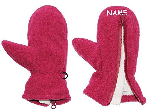 sehr weiche _ Fleece Fausthandschuhe - Größe: 1 bis 2 Jahre - incl. Namen - mit Reißverschluß - ' lila / dunkel flieder / brombeere ' -...