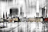 Poster 60 x 40 cm: Hamburg Skyline SW Abstrakte Collage von