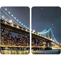 Wenko Juego de Cubiertas de Cocina Universal Brooklyn Bridge, Vidrio, Multicolor, 52x30x4,5 cm, 2 Unidades