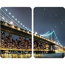 WENKO 2521320100 Cubierta de cocina Universal Brooklyn Bridge - juego de 2 piezas para todos los tipos de cocinas, Vidrio endurecido, 30 x 1.8-4.5 x 52 cm, Multicolor