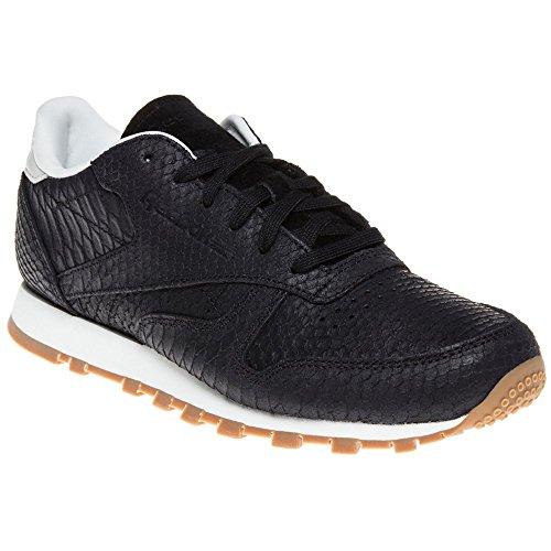 Reebok Classic Leather Clean Exotics Damen Sneaker Schwarz Schwarz