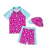 Baby Mädchen Badeanzug Bademode Schwimmbekleidung UV Badeanzug UV-Schutz Schwimmanzug Stern Bade-Set Mit Hut (Rosa, 18-24 Monate)
