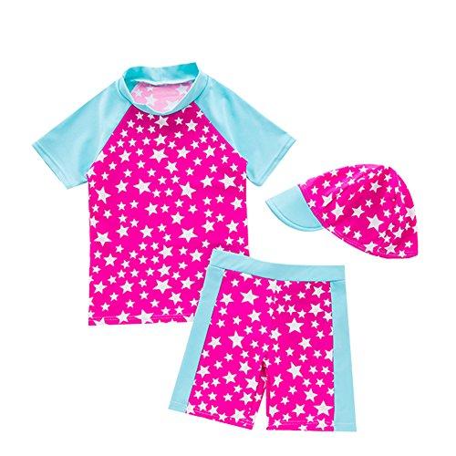 Baby Mädchen Badeanzug Bademode Schwimmbekleidung UV Badeanzug UV-Schutz Schwimmanzug Stern Bade-Set mit Hut (Rosa, 2-3 Jahre)
