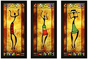 SAF Set of 3 Textured Print with Uv Framed Reprint Painting (SANFO788, 15 cm x 3 cm x 38 cm)