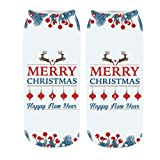 3D gedruckte Socken,Weihnachtsmode Paar drucken Socken aus Baumwolle warm seicht Mund atmungsaktiv Stretch-Socken URIBAKY