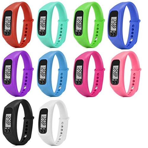 Sportuhr mit Schrittzähler, ohne Bluetooth, Kalorienzähler, zurückgelegter Distanz, digitales LCD-Display zum Joggen, Laufen, violett