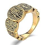 Aidsaer Ring Gold Vintage Ring Männer Silber Hochglanzpolierte Runde Kreise Ringgröße 62 (19.7) Partnerschaft,Mein Herz Schlägt Deinen Takt, Ring Für Herrn