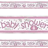 Unique Party 41668LF Umbrellaphants Baby Shower Foil Banner, Pink, 12 ft