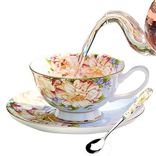 YBK Tech Euro Style Tasse & Untertasse Set Art Bone China Keramik Tee Kaffee Tasse für Home Küche Hochzeit blau (China Bone Trim Gold)