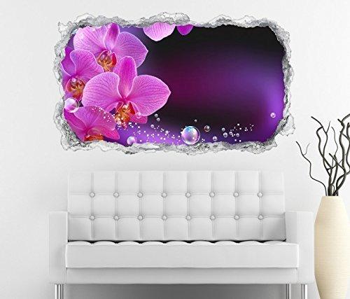 3D Wandtattoo Orchidee Blume lila rosa Wasser Wand Aufkleber Durchbruch Stein selbstklebend Wandbild Wandsticker 11N518, Wandbild Größe F:ca. 97cmx57cm (Lila Blumen-wand-aufkleber)