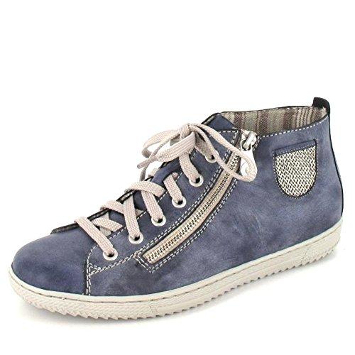 Rieker Damenschuhe L9402 Damen Kurzstiefel, Boots, High-top Sneaker, lose Einlage, Deko-Reißverschluss außen blau (jeans/lightgold / 14), EU 38