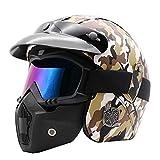 AnySell Motorradhelm, PU-Leder, 3/4-offenes Gesicht, Motorradhelm mit Brille L Camouflage
