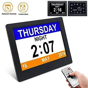 YENOCK Demenz-Uhr, 8″Tagesuhr Klarer, großer, Nicht abgekürzter Tag- und Monats-Wanduhr-Tisch- / Regaluhr mit digitalem Wecker-Kalender