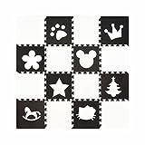 H Cadeau Bunt Puzzlematte Schaumstoff Puzzle Matte Kinder Spielteppich Spielmatte Baby krabbeln Boden Schlafzimmer Yoga Turnhalle 30*30cm 18 teilig (Schwarze Cartoon+Weiß)